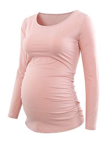 Love2Mi Damen Langarm Schwanger T-Shirt Umstandsshirt Umstandstop Schwangerschaft, Rosa, XL