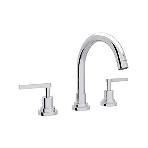 Rohl A2228LMAPC-2 Lombardia C-Spout Widespread Bathroom Sink Faucet with Lever Handles, Chrome