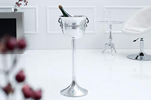 Licht-Erlebnisse Stand Sektkühler SHENNE in Silber 75cm hoch mit Gravur Tragegriffe Champagnerkühler