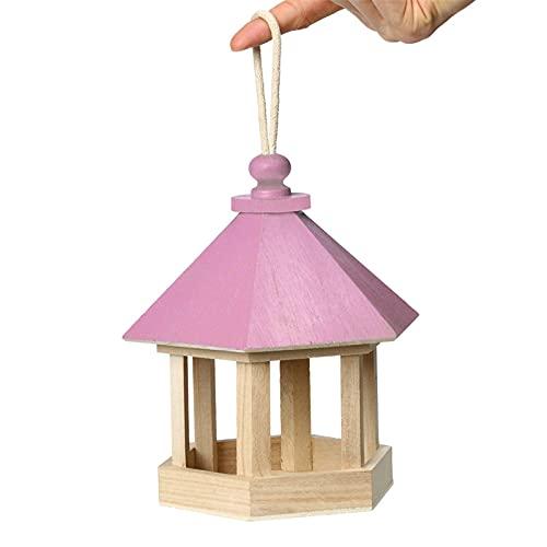 SVNA 2021 Nuevo alimentador de pájaros, Suministros de alimentación hexagonales de Madera, Jaula de pájaros Colgante para jardín al Aire Libre (Color : Pink)