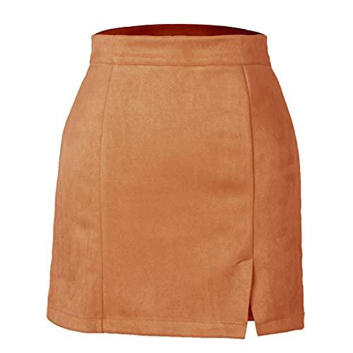 Byqny Falda Corta de Gamuza para Mujer, Falda de Cintura Alta, Falda a la Cadera, Falda de Color sólido de otoño e Invierno