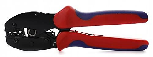 Crimpzange für MC4 Steckverbinder - Crimpzange - Zange für Kabelklemmen - 2,5-6mm - Solar - zum Crimpen und Zusammenbauen von Kabelbeschlägen - 3 Arbeitsbuchsen (Rot)