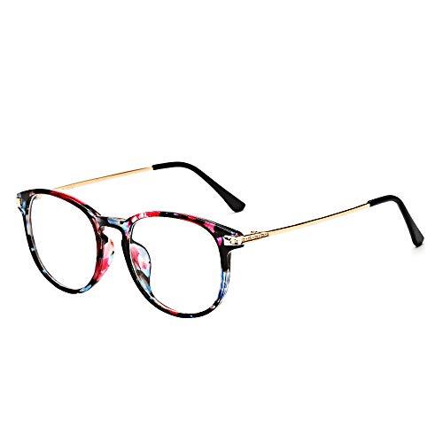 BOZEVON Brille Ohne Sehstärke für Frauen Männer - Ultraleichte Klassische Mode Brillengestell Vintage Brillen Klare Linse, Blumen B