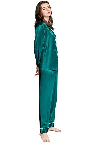 Damen Seide Schlafanzug Pyjama Türkis XXX-Large