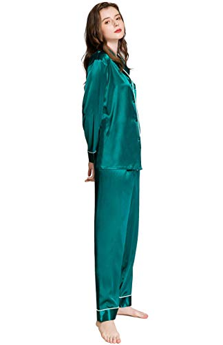 Lonxu Womens Silk Satin Pajamas Set Green L