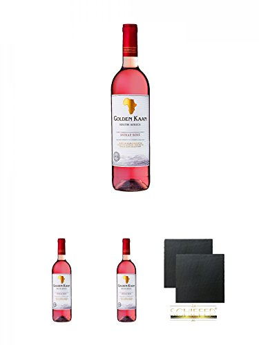 Golden Kaan Shiraz Rose 0,75 Liter + Golden Kaan Shiraz Rose 0,75 Liter + Golden Kaan Shiraz Rose 0,75 Liter + Schiefer Glasuntersetzer eckig ca. 9,5 cm Ø 2 Stück