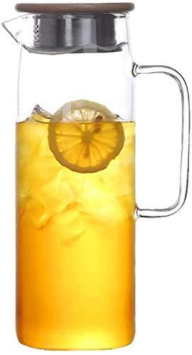 GHJA Tetera de Vidrio de Gran Capacidad con Bobina de Filtro Segura para Jugo casero té Helado Leche 1l, Taza de té de 1.5l (tamaño: 9x25x8.5cm)