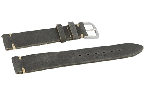 Fluco Lederband Used Look (Shabby chic) schwarz/grau 22mm Handvernäht