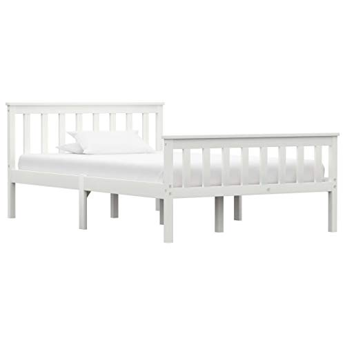 vidaXL Madera Maciza de Pino Estructura de Cama Matrimonio Doble Blanca 120x200 cm Somier Muebles de Dormitorio Habitación