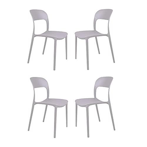Sedia impilabile in polipropilene NATHAN per cucina soggiorno giardino Grigio set 4