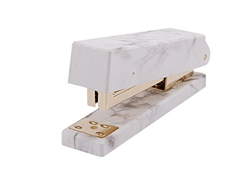 Heavy Duty Marble Desktop Staplers Office School Supplies Manual Staplers Gold Staple Remover with Non-Slip Base,50 Sheet Capacity,for Staples 24/6,26/6,Full Desk Size,Effortless & Ergonomic Design