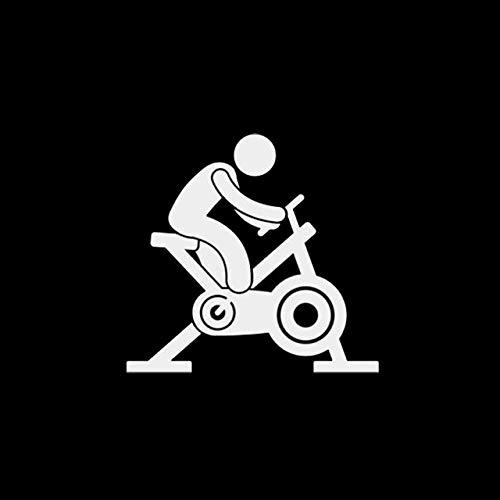 Bonitos pegatinas 10,8 X 10,2 cm Imágenes de dibujos animados de fitness bicicleta de spinning etiquetas engomadas del coche de la motocicleta del coche del vinilo reflectante Adhesivos Negro/Plata