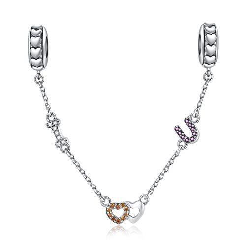 Jiayiqi I Love U catena di sicurezza charm in argento Sterling 925 per braccialetti Pandora da donna