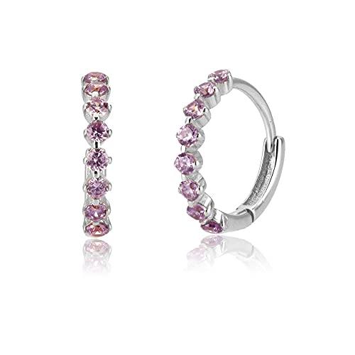 Pendientes Mujer Plata De Ley 925 Rose Red Huggies Colgante Círculo Moda Circón Cz Aros Piercing Pendientes Jewelry Silver 3