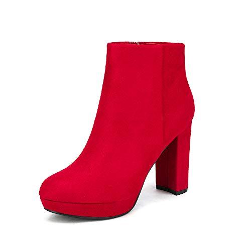 Dream Pairs Stomp Botines de Tacón Alto Grueso Invierno Plataforma Cremallera Moda Punta Redonda Zapatos para Mujer Rojo 37.5 EU/6.5 US