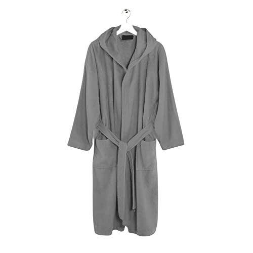 Intimitaly ptoio - Albornoz de rizo para hombre, 100 % algodón, suave, de 350 g/m², para gimnasio, piscina, para sauna Spa (gris, XL)
