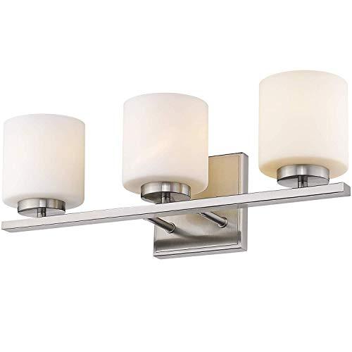 CattleBie 3-Luz Espejo de baño Accesorios Ligeros, Acabado Níquel Cepillado con esmerilada Blanca Pantalla de Cristal, lámpara de Interior Moderno Pared Linterna, Luz de Montaje en Pared Apliques E27