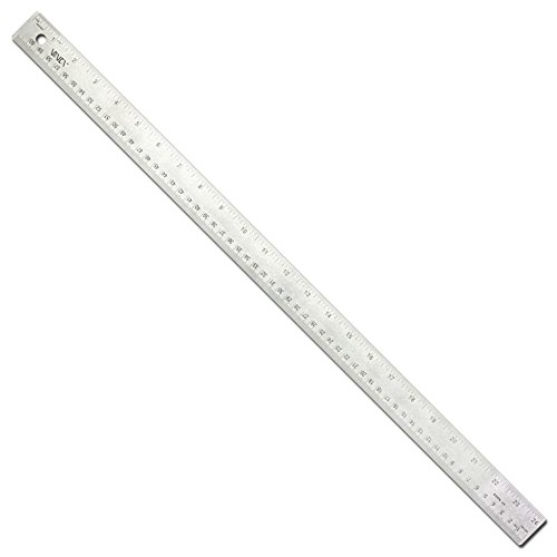 VINCA SSRN-24 Stainless Steel Office Drawing Ruler 0-24 Inch 0-60cm with Non Slip Cork Base Measuring Tool