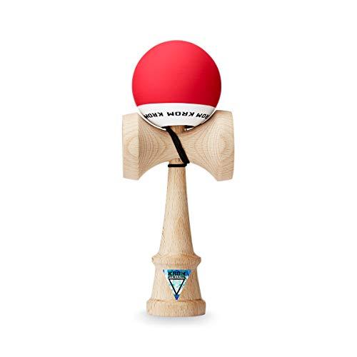 Original KROM Pro Kendama aus Holz für Anfänger und Fortgeschrittene - POP Rot - Geschicklichkeitsspiel für draußen und drinnen - Holzspielzeug mit Schnur und Ball - Kendama Skilltoy Kugelfangspiel