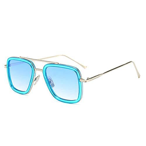 Gafas de sol europeas y americanas de los hombres de tendencia gafas de moda caja cuadrada gafas de sol-Golden box_Blue circle