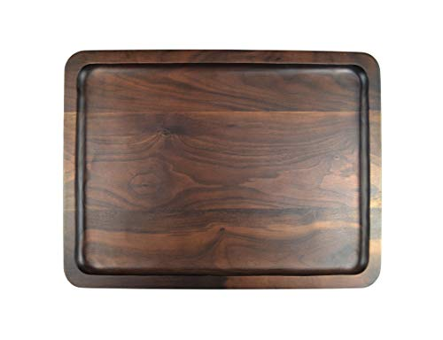 Samyo Black Walnut Solid Wood Rectangular Tableware Serving Tray Handcrafted Decorative Trays Food Tray Serving Platters with gripper for Coffee Wine Cocktail Fruit Meals Large Size