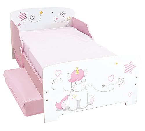 Fun House Unicornio Cama 140 x 70 cm con Listones con 2 cajones de Almacenamiento para niños, MDF, Color Blanco