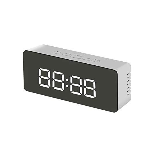 Wandklokken Digitale wekker LED Mirror Clock Creative Mirror Clock make-up spiegel Thermometer Bedside Klok USB Woondecoratie (Color : White)