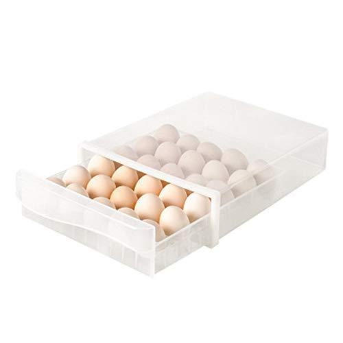 TreeLeaff Bandeja de huevos para nevera, soporte para huevos de alta capacidad, organizador para frigorífico, contenedor de huevos apilable de plástico duradero con tapa para 30 huevos