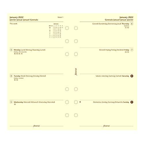 Filofax Refill, Persoonlijk/Compact Size, Week-to-View, Katoen Cream Paper, Ongelijnd, Meertalig: Vijf talen, 2022…
