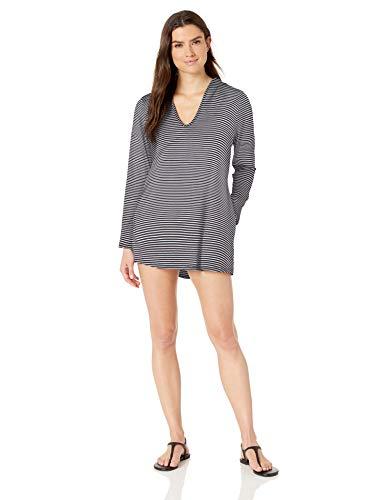Splendid Women's Swimsuit Cover Up Stripe Hoodie Tunic, Soft Navy, S