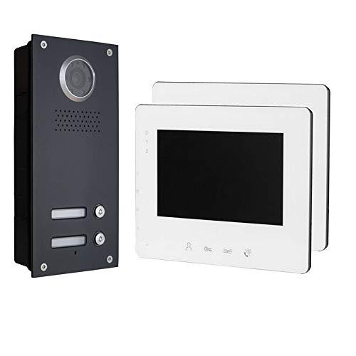 2-Draht Bus IP Video Türsprechanlage, 2 Familienhaus Set, 7'' Monitor, Anthrazit, Farbe: 2x7'' Monitor