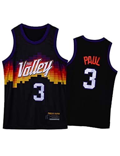 Kfdfns Camiseta de Baloncesto 2021 para Hombre NBA Phoenix Suns # 3 Paul Chaleco Deportivo Transpirable Top Sudadera sin Mangas Camiseta Chaleco Top
