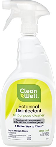 CleanWell Botanical Disinfectant All Purpose Cleaner, Lemon, 26 fl oz (1 PK)—EPA List N Approved, Bleach Free, Antibacterial, Kid/Pet Friendly, Plant-Based, Nontoxic, Cruelty Free, Deodorizes