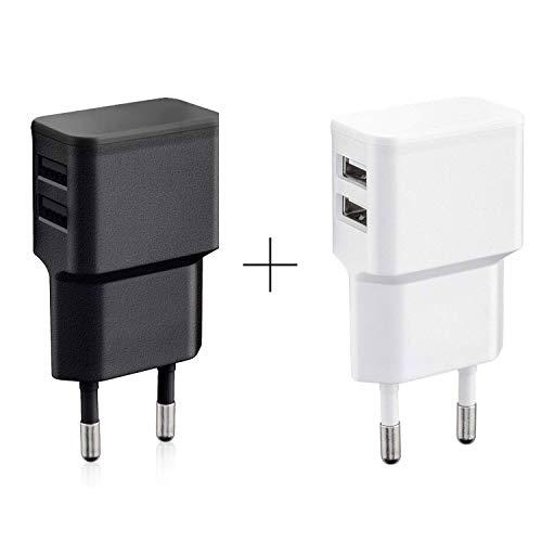 Wicked Chili 2er Set Dual USB Ladegerät (weiß und schwarz) 12W / 2,4A Pro Series Universal Netzteil für Handy, Watch, Powerbank und Bluetooth Speaker, 2-Fach USB Netzadapter (90°, 2-Fach USB)