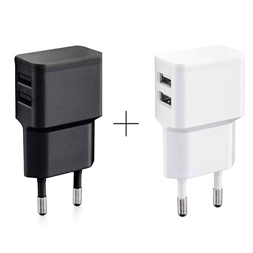 Wicked Chili 2er Set Dual USB-lader (wit en zwart) 12W / 2,4A Pro Series Universal Adapter voor mobiele telefoon, Watch, powerbank en Bluetooth Speaker, 2-voudige USB-adapter (90°, 2-voudige USB)