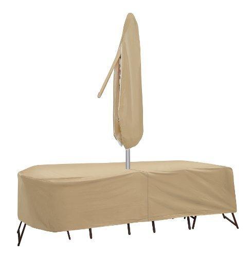 Housses de protection résistantes aux intempéries pour table de patio et chaise à dossier haut, 72 x 76 cm, table ovale et rectangulaire, beige par Protective Covers