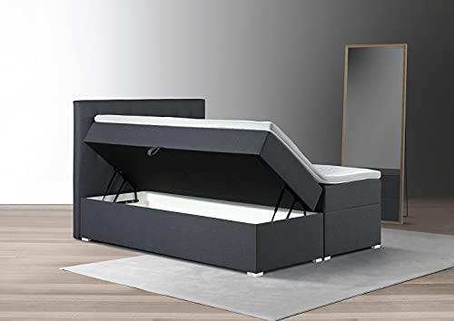 Tesla Dreams Boxspringbett Adler 160x200 - Bettkasten-Stauraum 1,00 m3, Taschenfederkern-Matratzen, Topper Latex-3D Bezug, Anthrazit