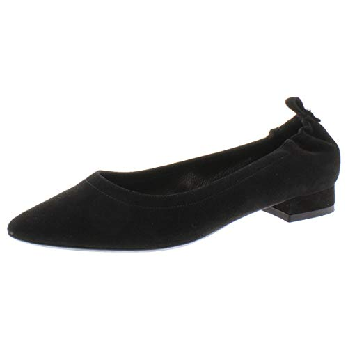 Aquatalia Womens PILARA Suede Slip On Ballet Flats Black 7.5 Medium (B,M)