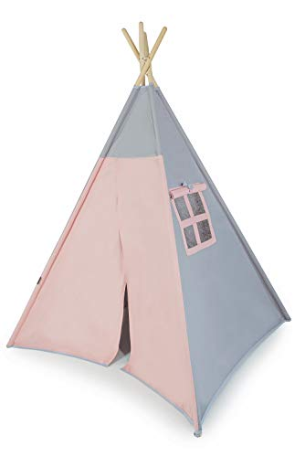Tweepsy Tenda Bambini Tepee - Tenda per Giocare per Bambini E Bambine in Cotone al 100% Tana Portatile e Piegabile per Il Tuo Piccolo Indianino – per Interni Ed Esterni