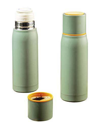 Esmeyer Isolierflasche GROENLAND, aus doppelwandigem Edelstahl, Höhe 245 mm, Durchmesser: ca. 72 mm Isolierkanne, grün, 7.6 x 7.6 x 23.5 cm
