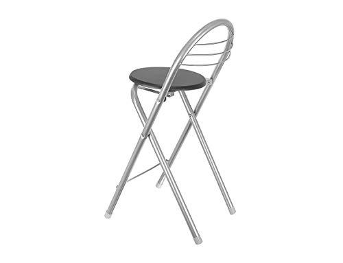 FHU Zusammenklappbarer Barhocker mit Rückenlehne und Fußstütze, Tresenstuhl, Hocker, Klappbar, 79 cm, Silber-Schwarz