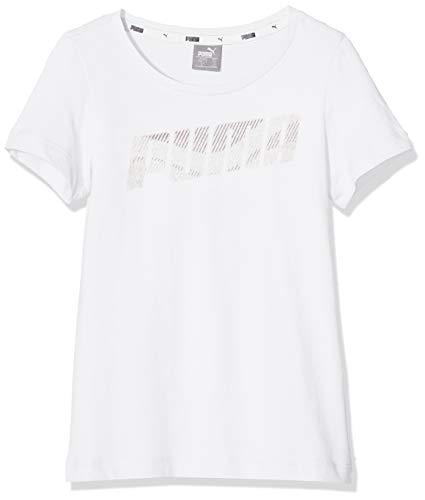 PUMA Mädchen Alpha Logo Tee G T-Shirt, White, 140