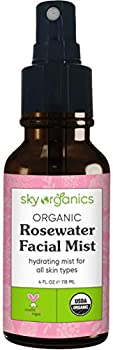 Organic Rosewater Facial Mist by Sky Organics  4 fl oz  Soothing Rose Water Spray 100% Pure USDA Organic Rosewater Toner Makeup Setting Spray Alcohol-Free Rosewater Mist for All Skin Types