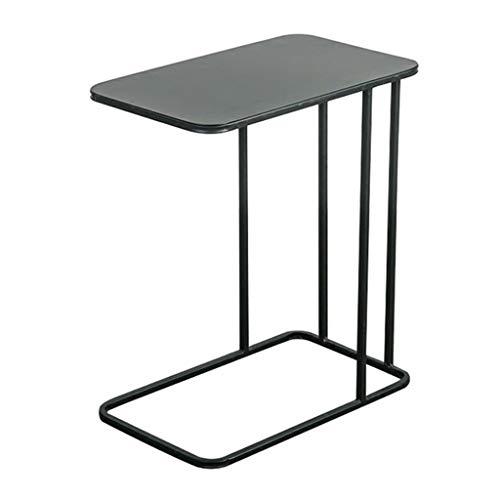 Mesa auxiliar de sofá en forma de C/mesa de centro simple, material de metal, resistente y duradero, ligero y fácil de llevar, uso de sofá, mesita de noche, silla de salón al aire libre, dorado/negro