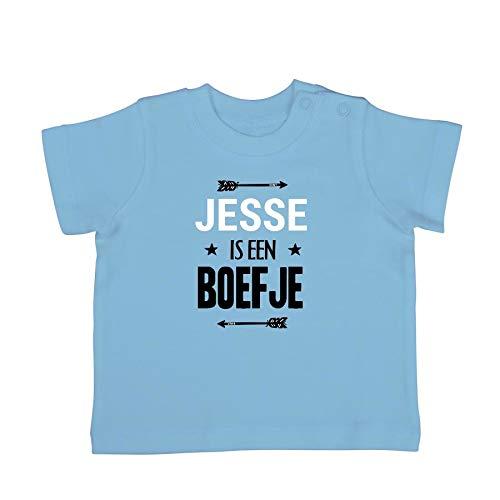 Baby shirt bedrukken - Korte mouw - Babyblauw - 62/68