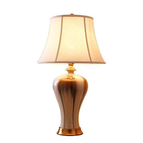 Lampe de bureau En Céramique Nouveau Chinois Moderne Salon Décor Tissu Ombre Chambre Lampes De Chevet Art Multicolore Décoration (Couleur : A)