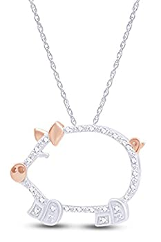 Round Cut White Natural Diamond Accent Two Tone Pig Pendant in 14K White Gold Over Sterling Silver
