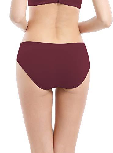 Areke Womens Bikini Panties Seamless Underwear, Soft Stretch Cheekini Hipster Briefs 6 Pack (Assorted S)