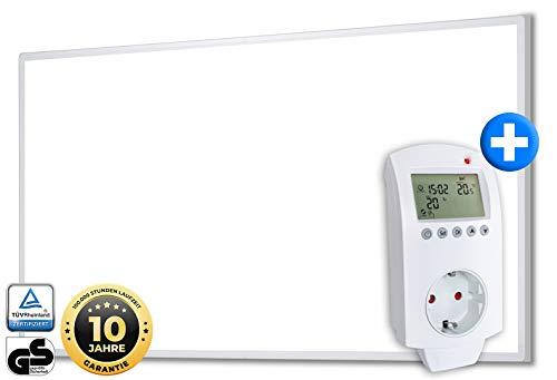 Heidenfeld Infrarotheizung HF-HP100 450 Watt Weiß + Steckdosenthermostat HF-DT100-10 Jahre Garantie - Deutsche Qualitätsmarke - TÜV GS - 5-12 m² Räume (HF-HP100 450 Watt)
