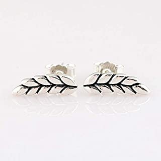 Authentic 925 Sterling Silver Earring Curved Grains Ear of Wheat Studs Earring for Women Wedding Gift DIY Jewelry